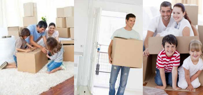 Collage of 3 families moving