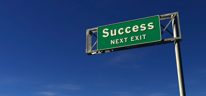 Green highway sign-Success Next Exit